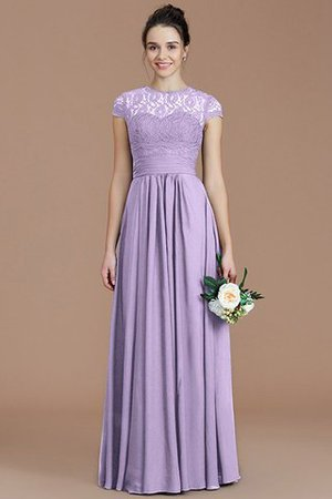 Chiffon Floor Length A-Line Jewel Short Sleeves Bridesmaid Dress - 25