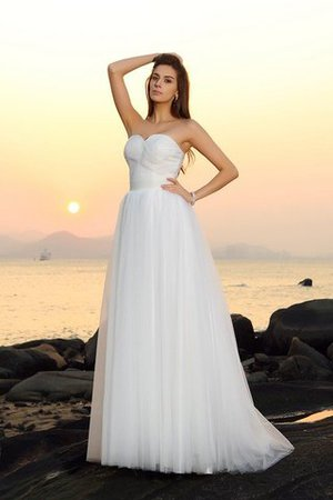 A-Line Sleeveless Empire Waist Long Wedding Dress - 1