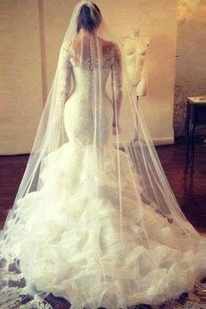 Long Sleeves Mermaid Tulle Natural Waist Scoop Wedding Dress - 3