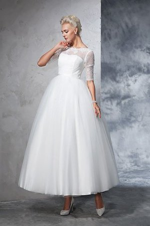 Ball Gown Ankle Length Half Sleeves Lace Long Wedding Dress - 4