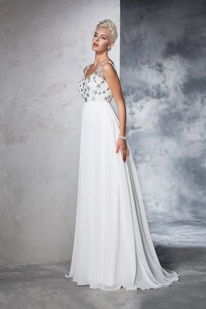 Sleeveless Empire Waist Sweep Train A-Line Long Wedding Dress - 4
