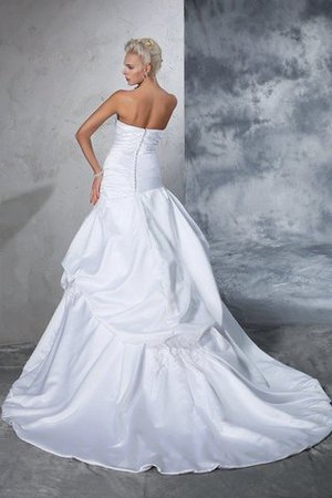 Natural Waist Appliques Long Chapel Train Strapless Wedding Dress - 2
