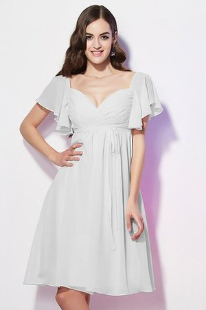 Ruffles Knee Length Short Sleeves Sweetheart Bridesmaid Dress - 19