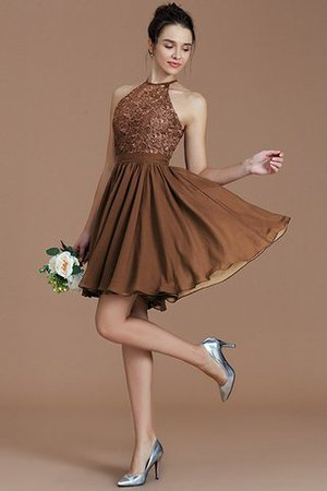A-Line Short Halter Natural Waist Bridesmaid Dress - 9