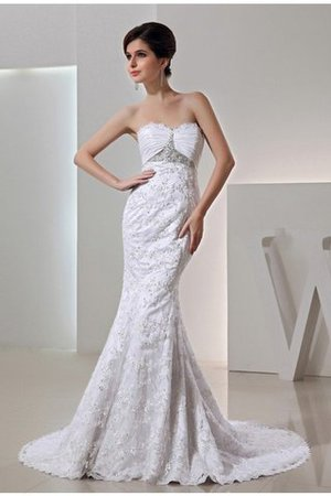 Mermaid Lace Zipper Up Sleeveless Court Train Wedding Dress - 1
