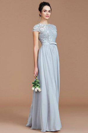 A-Line Jewel Lace Short Sleeves Bridesmaid Dress - 2
