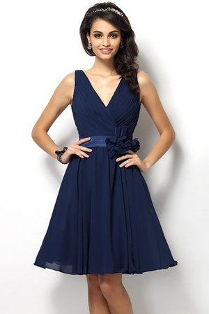 Draped A-Line V-Neck Natural Waist Bridesmaid Dress - 10
