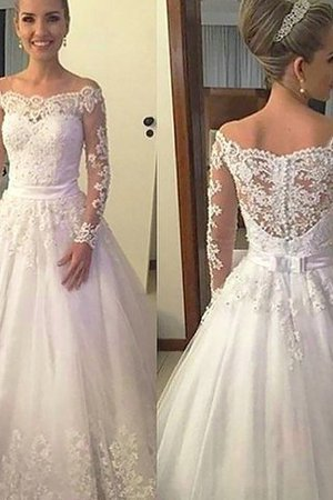 Ball Gown Tulle Court Train Natural Waist Long Sleeves Wedding Dress - 1