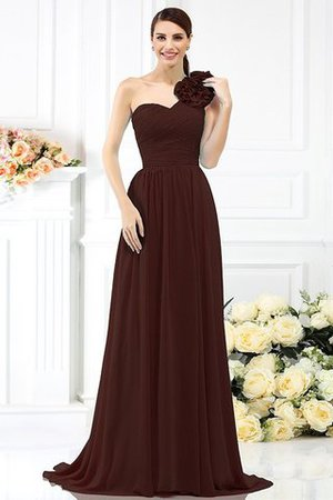 Chiffon A-Line One Shoulder Long Flowers Bridesmaid Dress - 7