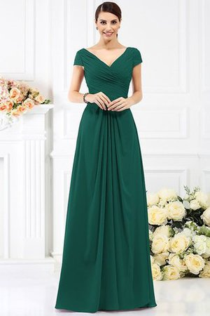 Long Empire Waist Pleated A-Line Short Sleeves Bridesmaid Dress - 9