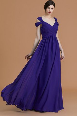 Natural Waist A-Line Ruched Floor Length Bridesmaid Dress - 1