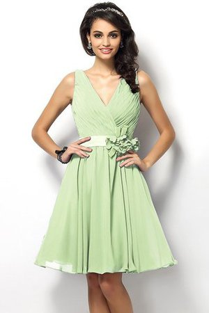 Draped A-Line V-Neck Natural Waist Bridesmaid Dress - 26