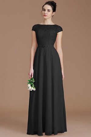 Floor Length Lace Chiffon Natural Waist Zipper Up Bridesmaid Dress - 7