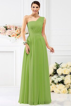 Pleated Long A-Line One Shoulder Bridesmaid Dress - 14