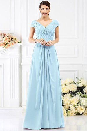 Long Empire Waist Pleated A-Line Short Sleeves Bridesmaid Dress - 18