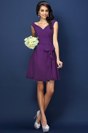 Zipper Up A-Line V-Neck Short Bridesmaid Dress - 13