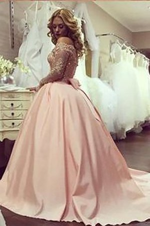 Long Sleeves Off The Shoulder Satin Ball Gown Natural Waist Evening Dress - 2