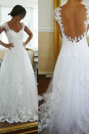 Natural Waist V-Neck A-Line Tulle Wedding Dress - 1
