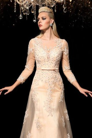 Princess Long Sleeves Zipper Up Appliques Floor Length Wedding Dress - 6