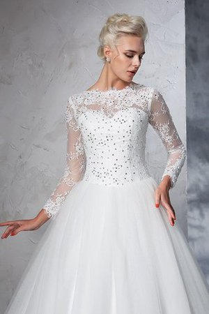 Sweep Train Long Zipper Up Ball Gown Long Sleeves Wedding Dress - 7