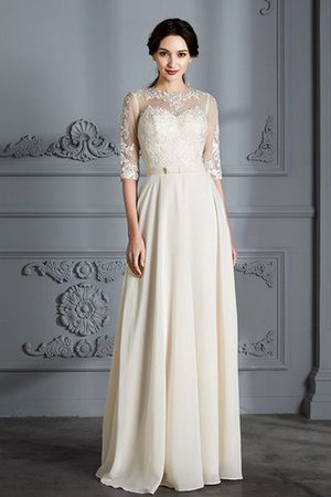Natural Waist A-Line Scoop Half Sleeves Wedding Dress - 1