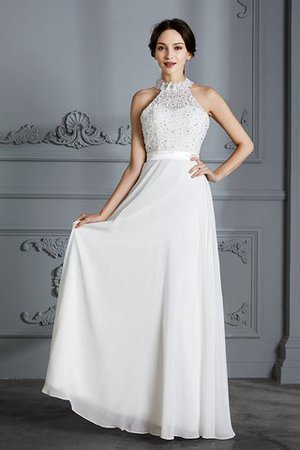 Natural Waist Sleeveless Floor Length Princess Chiffon Wedding Dress - 3