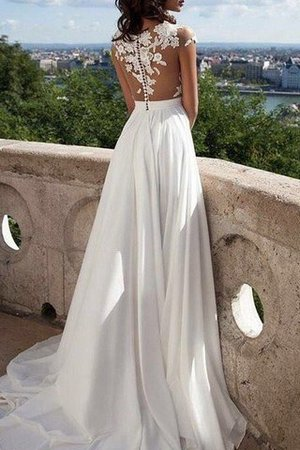 Scoop Appliques Short Sleeves Floor Length Princess Wedding Dress - 3