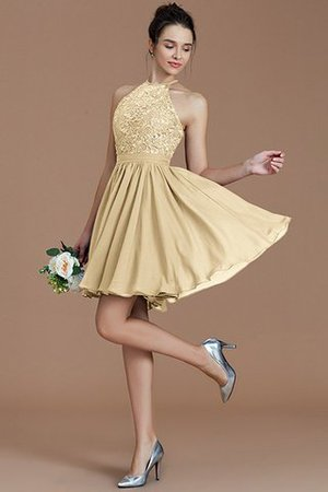 A-Line Short Halter Natural Waist Bridesmaid Dress - 12