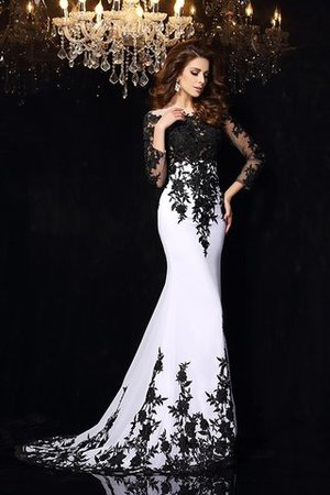 Long Sheath Zipper Up Lace Court Train Prom Dress - 5