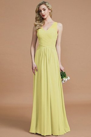 Natural Waist Floor Length A-Line V-Neck Bridesmaid Dress - 13