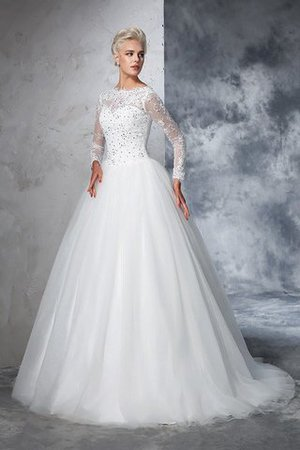 Sweep Train Long Zipper Up Ball Gown Long Sleeves Wedding Dress - 5