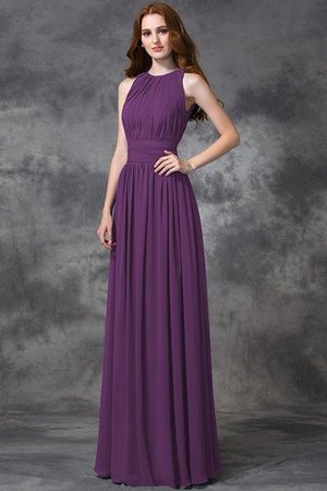 Sleeveless Ruched Natural Waist Chiffon Long Bridesmaid Dress - 5