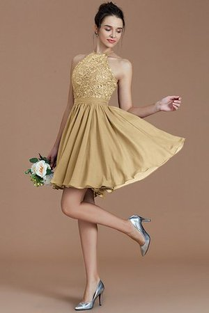 A-Line Short Halter Natural Waist Bridesmaid Dress - 18