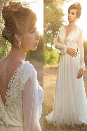 Natural Waist V-Neck Lace A-Line Sweep Train Wedding Dress - 1