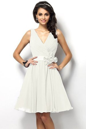 Draped A-Line V-Neck Natural Waist Bridesmaid Dress - 16