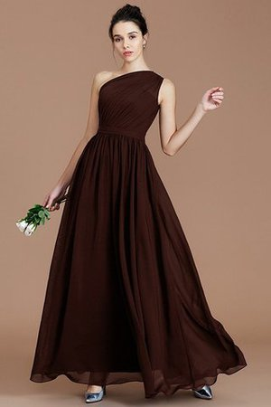 Floor Length Natural Waist Chiffon Ruched One Shoulder Bridesmaid Dress - 11
