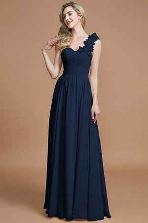 Sleeveless Natural Waist One Shoulder A-Line Chiffon Bridesmaid Dress - 15