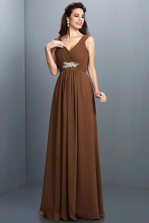 A-Line Chiffon Long Sleeveless Bridesmaid Dress - 4