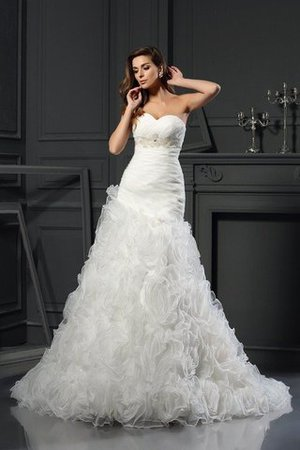 Organza Princess Zipper Up Chapel Train Long Wedding Dress - 1