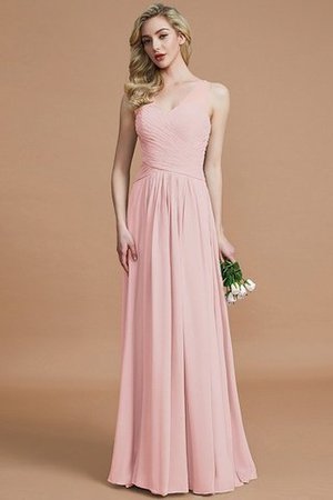 Natural Waist Floor Length A-Line V-Neck Bridesmaid Dress - 26