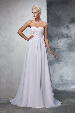 Sweetheart Empire Waist Chiffon Sleeveless Long Wedding Dress - 1