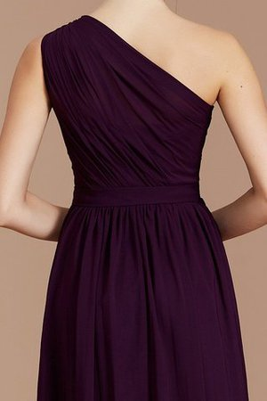 Floor Length Natural Waist Chiffon Ruched One Shoulder Bridesmaid Dress - 3