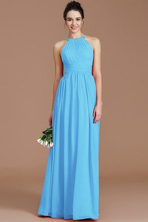 Ruched Floor Length Chiffon Natural Waist Halter Bridesmaid Dress - 6