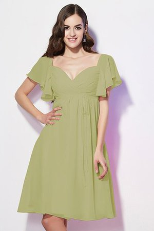 Ruffles Knee Length Short Sleeves Sweetheart Bridesmaid Dress - 7