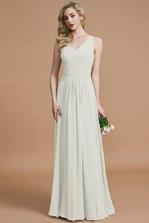 Natural Waist Floor Length A-Line V-Neck Bridesmaid Dress - 21