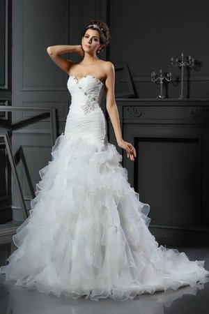 Mermaid Lace-up Sleeveless Sweetheart Natural Waist Wedding Dress - 1