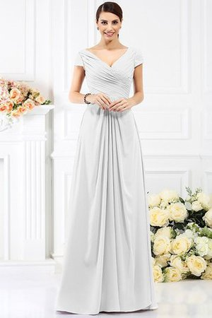 Long Empire Waist Pleated A-Line Short Sleeves Bridesmaid Dress - 29