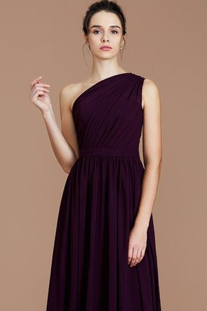 Floor Length Natural Waist Chiffon Ruched One Shoulder Bridesmaid Dress - 5