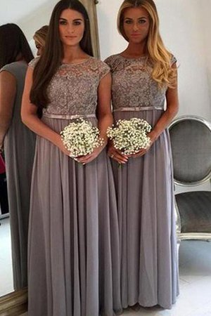 Chiffon Natural Waist Appliques A-Line Bridesmaid Dress - 1