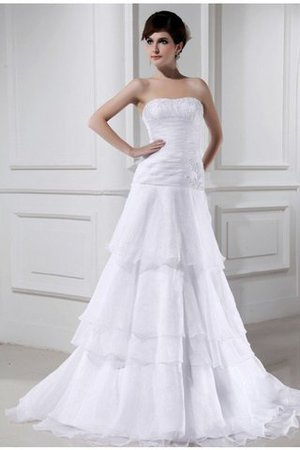 Court Train Long Zipper Up Sleeveless Beading Wedding Dress - 1